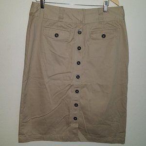 Christopher & Banks Khaki Tan Skirt Midi Size 14